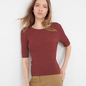 WHBM Terra Rosa Crewneck Ribbed Sweater